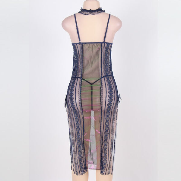 AR7599 Patchwork Long Bobydoll Lingerie Dress Side Open Backless Bow Mesh Sexy Women Transparent Sleeveless Shiny