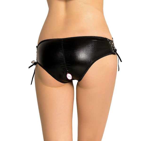 AP5125 Black Faux Leather Panties Sexy Hollow Out Low-Rise Underpants Women Sexy Underwear