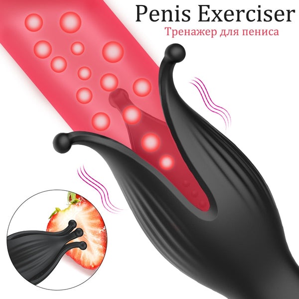 10 Vibrating Modes Penis Delay Trainer Male Masturbator Vibrator Automatic Oral Climax Sex Glans Stimulate Massager Sex Toys for Men