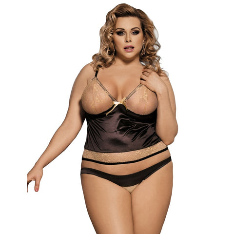 AR80350 Women Sexy Lingerie Big Size Brown Baby Doll With Dress+Panty Newly Lingerie Sexy Erotic Costume