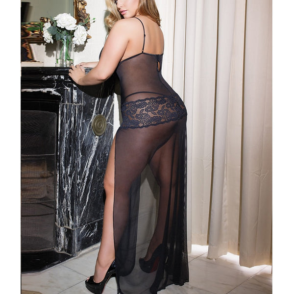 AR80441 Elegant Women Mesh Long Nighties Split Sleepwear Lace Fantasias Sexy Erotic Plus Size Black Lingerie