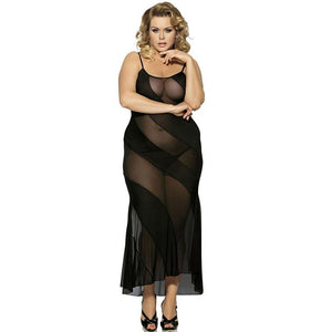 AR7389 Women Babydoll See Through Mesh Sexy Lingerie Black Sleeveless Long Dress