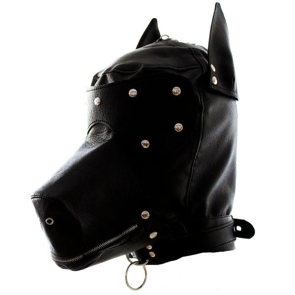 Leather fetish dog headgear sexy cosplay hood mask head harness bondage restraint