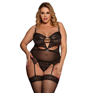 AR80426 Black Transparent Lace Baby Doll Sexy Lingerie Plus Size Open Back Erotic Sexy Lingerie With Garter