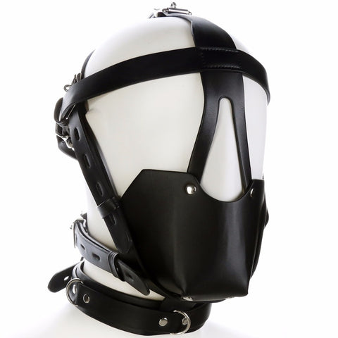 Bondage Restraints Head Hood Harness Mouth Gag