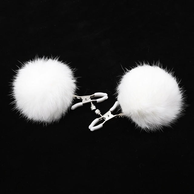 Metal nipple clamps bondage breast clips clitoris stimulator with fluff