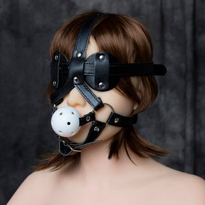 PU leather head harness bondage restraint ball open mouth gag eye mask cover