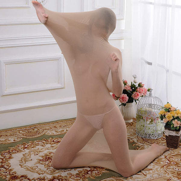 Thin Nude Sexy bondage body Sleepwear Bag see through restraint bodysuit