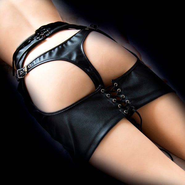 Leather butt ass open thong nightclub dress female bondage restraint