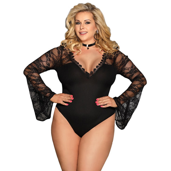 AR80589 Sexy Women Horn Sleeve Black Sexy Bodysuit Plus Size Transparent V Neck Women Bodysuit