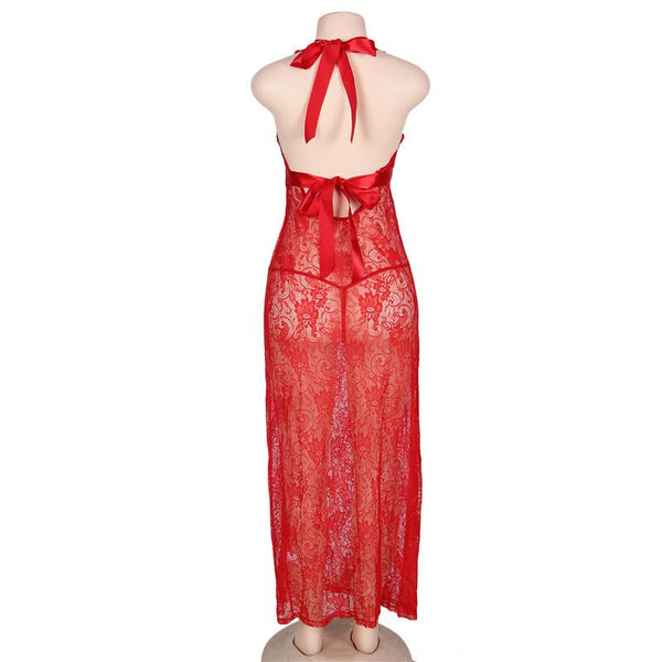 AR80337 Sexy Lingerie V Neck Red Erotic Costumes Women Porno Lingerie Transparent Split Floral Lace Plus Size Babydoll