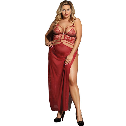 AR80205 Plus Size Sexy Woman Lingerie Patchwork Slit Babydoll Dress With G string Erotic Backless Sexy Underwear Porno Clothes