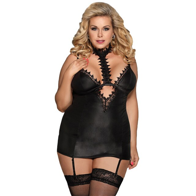 AR80662 Plus Size Lingerie Erotic Women Leather Black Underwear Lace Choker Neck Garter Babydoll Dress
