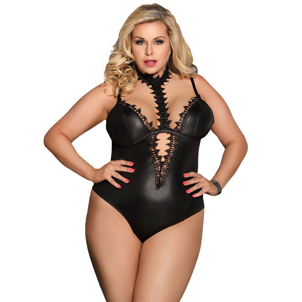 AR80663 Hollow Out Plus Size Leather Lingerie Woman Sexy Bodysuit Underwear Sleeveless Choker Neck Sexy Teddy