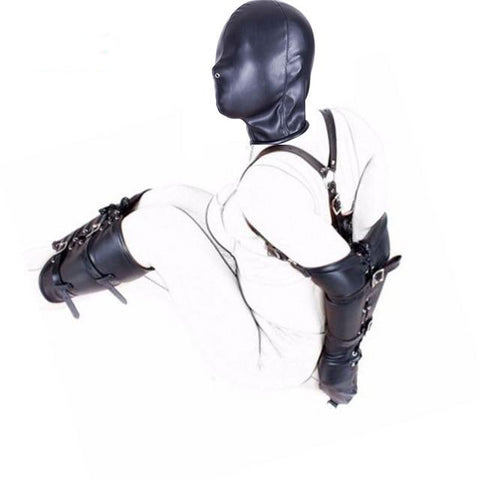BDSM Bondage Restraints Role Play Hands Wrists Arm Leg Binder Hood Mask