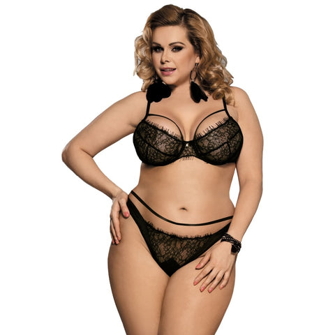 AR80293 Eyelash Lace Bra Set Black Thin Plus Size Ladies Intimates Wire Free  Adjusted Straps Women Bra Set Sexy Underwear