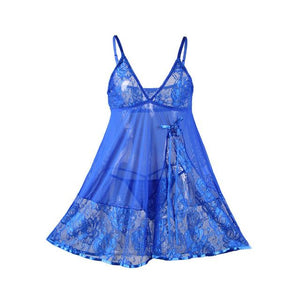 AR80158 Plus Size Sexy Dress Lace Chemise See Through Floral Sexy Lingerie Nightwear Babydoll