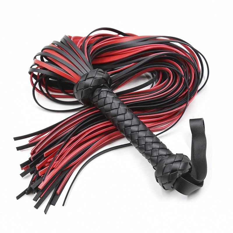 64CM Length Black&Red PU Leather Whip