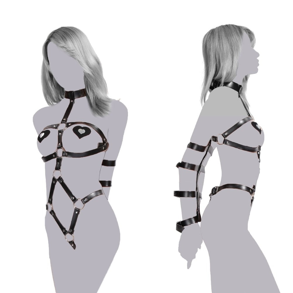 Fetish Bondage PU leather Body Harness Arm Cuffs Handcuffs for Women