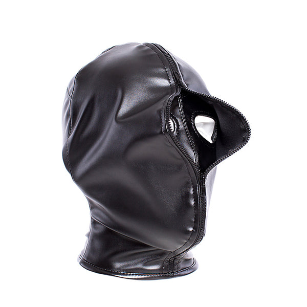 Double Layer BDSM Bondage Zipper Closed  Hood Mask