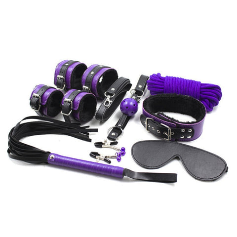 8pcs/set Restraints Leather Bondage Kit with Whip Rope Blindfold Wrist Cuffs Collar Ball Gag