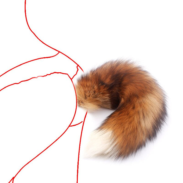 Real Fur Red Fox Tail Anal Plug Metal Butt Plug Animal Cosplay Tail Erotic Sex Toy for Couple