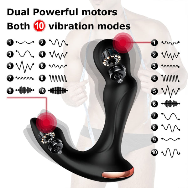 Sex Toys For Men Prostate Massager Vibrator Anal Rotating Wireless Remote USB Charging Butt Plug