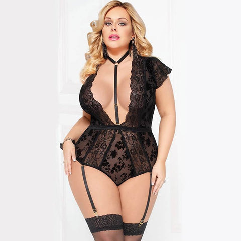 AR80560 Sexy Bodysuits For Sex Women Wetlook Lace Teddy Choker Neck Backless Deep V Body Suit Lingerie Plus Size With Garter