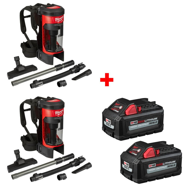 Milwaukee 0885-20 M18 3-in-1 Backpack Vacuum w/ FREE 48-11-1862 Battery 2Pk