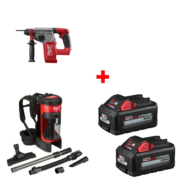 "Milwaukee 2712-20 M18 1"" Rotary Hammer, Bare w/ Vacuum & FREE Battery 2-Pack"