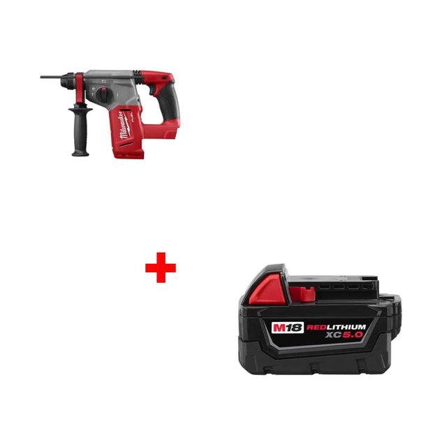 "Milwaukee 2712-20 M18 FUEL 1"" Rotary Hammer, Bare w/ FREE XC5.0 Battery Pack"