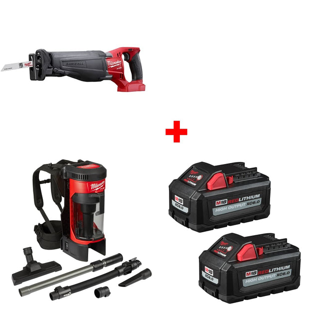 Milwaukee 2720-20 M18 Reciprocating Saw, Bare w/ Vacuum & FREE Battery 2-Pack