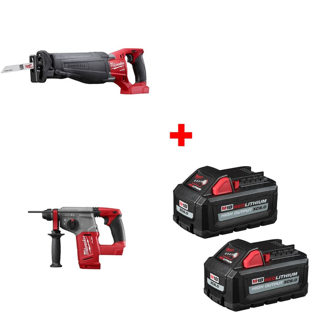 Milwaukee 2720-20 M18 Reciprocating Saw w/ Rotary Hammer & FREE Battery 2Pk