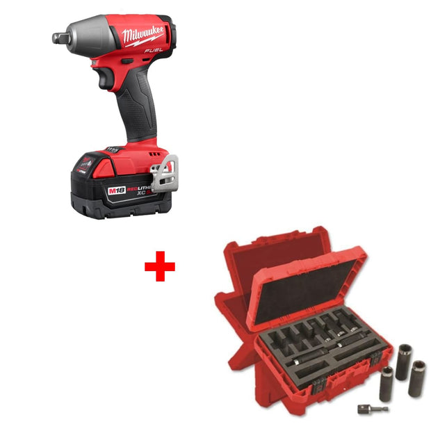 "Milwaukee 2755B-22 M18 1/2"" Impact Wrench w/ 49-66-4484 9Pc Impact Socket Set"