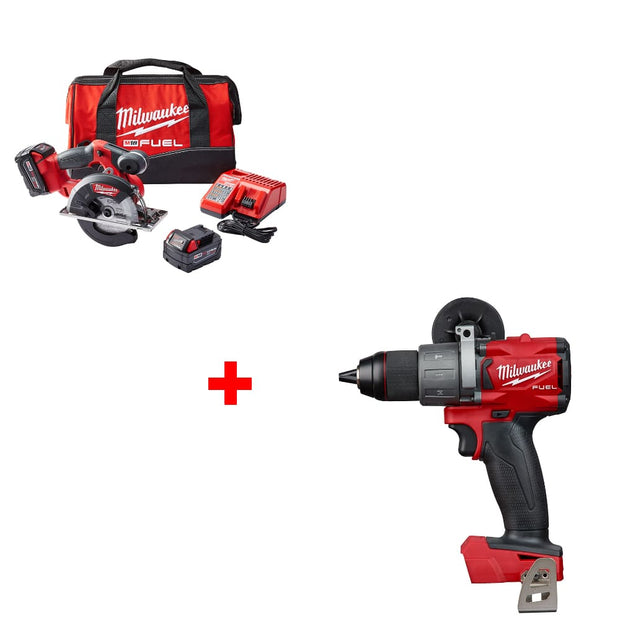 "Milwaukee 2782-22 M18 5-3/8""-5-7/8"" Circ Saw Kit w/ FREE 2804-20 Hammer Drill"