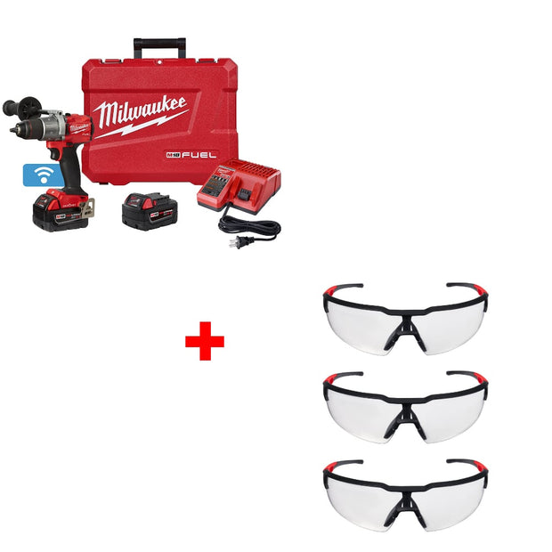 "Milwaukee 2805-22 M18 FUEL 1/2"" Drill Kit w/ 48-73-2050 Safety Glasses, 3 Pack"