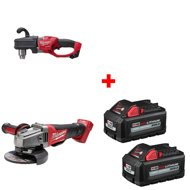 "Milwaukee 2807-20 1/2"" Right Angle Drill w/ Grinder, Bare & FREE Battery 2Pk"