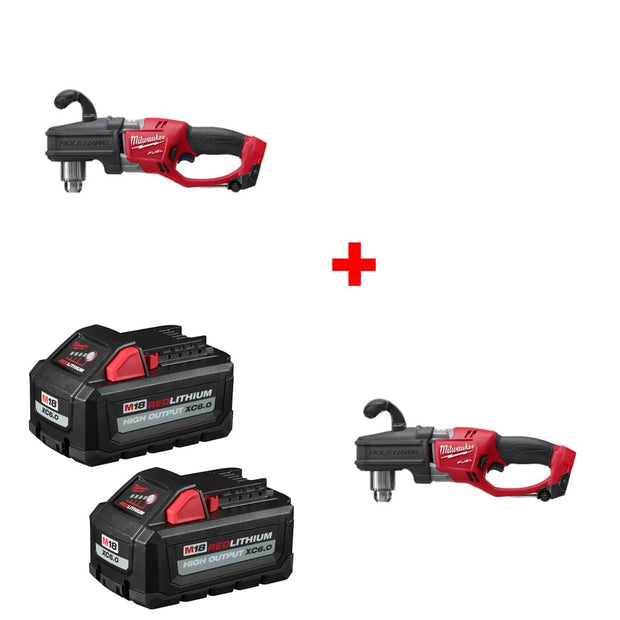 "Milwaukee 2807-20 M18 1/2"" Right Angle Drill w/ FREE 48-11-1862 Battery 2Pk"