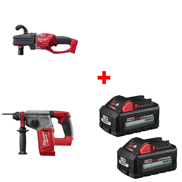 Milwaukee 2808-20 M18 Right Angle Drill w/ Rotary Hammer & FREE Battery 2Pk