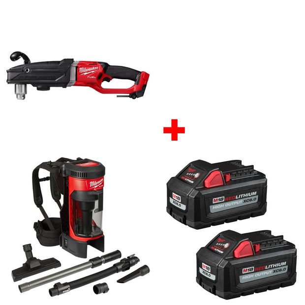"Milwaukee 2809-20 1/2"" Right Angle Drill, Bare w/ Vacuum & FREE Battery 2-Pack"