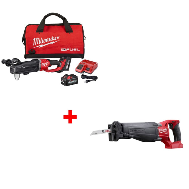 "Milwaukee 2809-22 M18 1/2"" Right Angle Drill Kit w/ FREE 2720-20 Recip Saw, Bare"