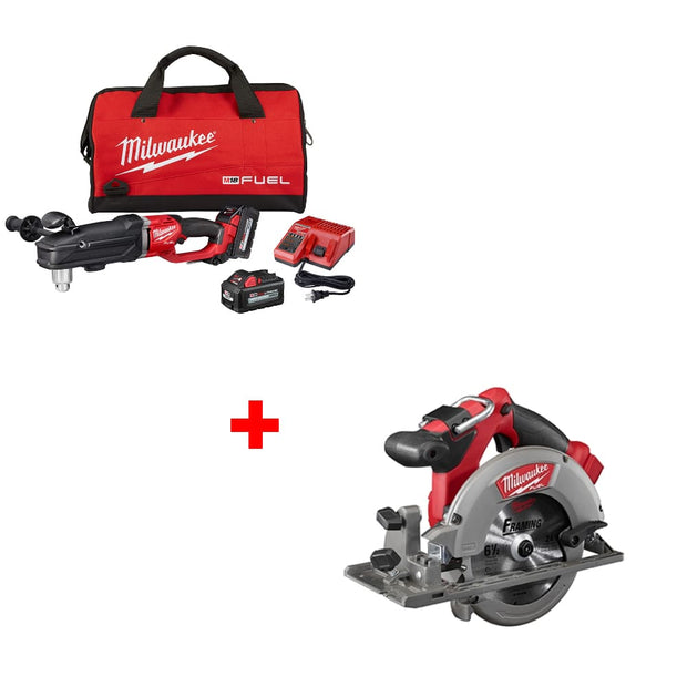 "Milwaukee 2809-22 M18 1/2"" Right Angle Drill Kit w/ FREE 2730-20 Circ Saw, Bare"