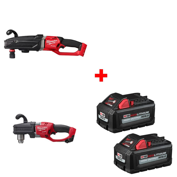 "Milwaukee 2811-20 Right Angle Drill w/ 1/2"" Right Angle Drill & FREE Battery 2Pk"