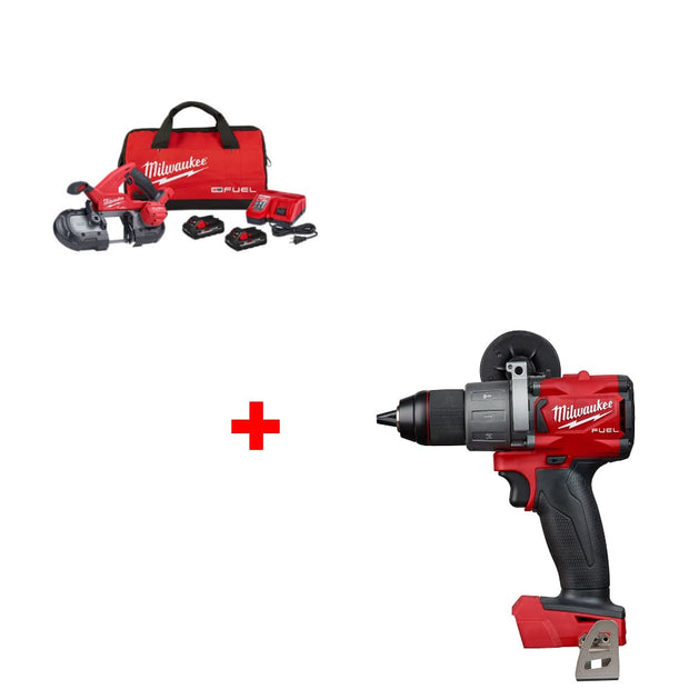 "Milwaukee 2829-22 M18 Band Saw Kit w/ FREE 2804-20 M18 1/2"" Hammer Drill, Bare"