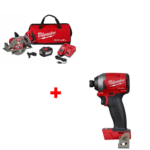 "Milwaukee 2830-21HD M18 7-1/4"" Circ Saw Kit w/ FREE 2853-20 1/4"" Impact Driver"