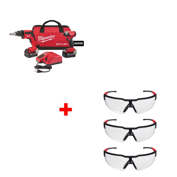 Milwaukee 2896-22 M18 FUEL Gun/Impact Combo Kit w/ 48-73-2050 Glasses, 3 Pack
