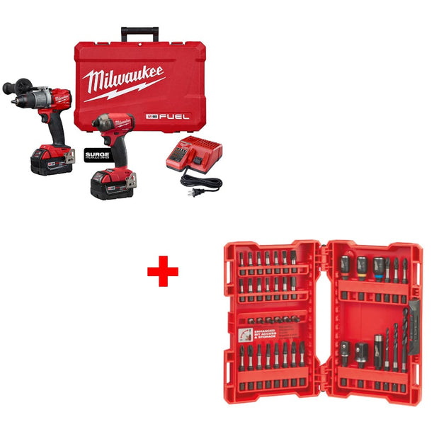 Milwaukee 2999-22 M18 FUEL 2-Tool Combo Kit w/ 48-32-4006 40PC Drill & Drive Set