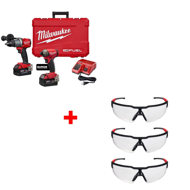 Milwaukee 2999-22 M18 FUEL Drill & Driver Kit w/ 48-73-2050 Glasses, 3 Pack