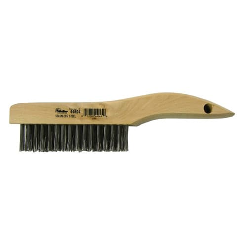 Weiler 44064 Hand Wire Scratch Brush, .012 Stainless Fill, Shoe Handle, 4 x 16 Rows