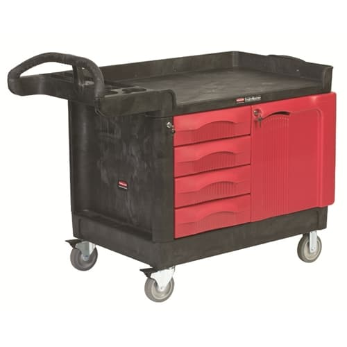 Rubbermaid FG453388BLA TradeMaster® Cart with 4-Drawer and Cabinet